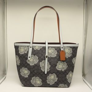 NEW COACH Rose Market Tote Blue Canvas Leather ❤